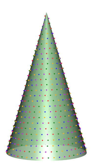 Theoretical christmas tree with lights.